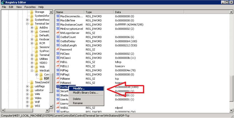 Chọn file Modify tại REGISTRY EDITOR
