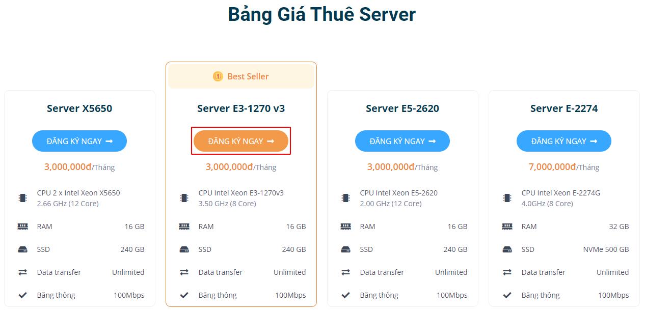 Bảng giá thuê server