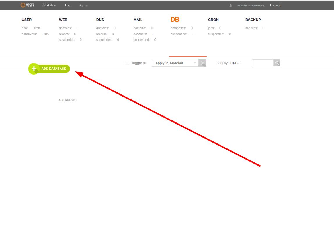 thêm database và user tương ứng trên vestacp