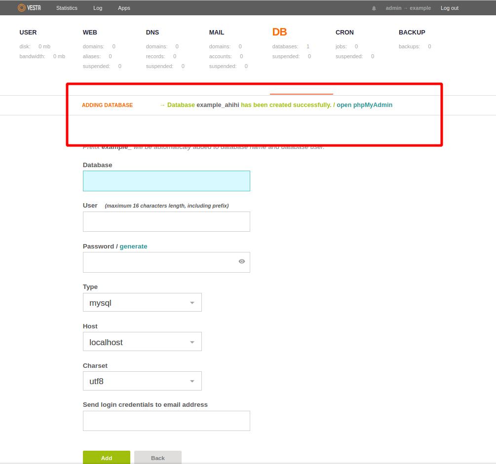 Lưu ý khi tạo database và user trên Vestacp
