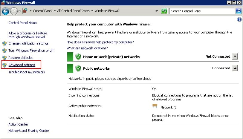 click chọn advanced setttings trên cửa sổ windows firewall