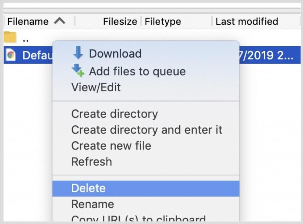 Xóa các file mặc định có trên server