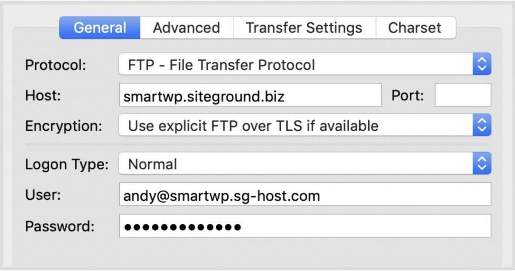Đặp nhập thông tin FTP
