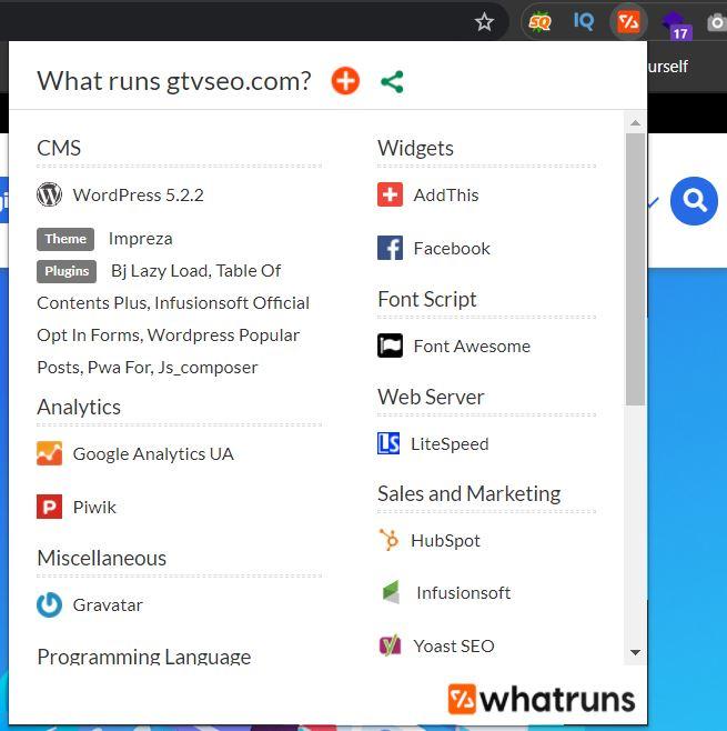 Extentions Whatrun check theme wordpress