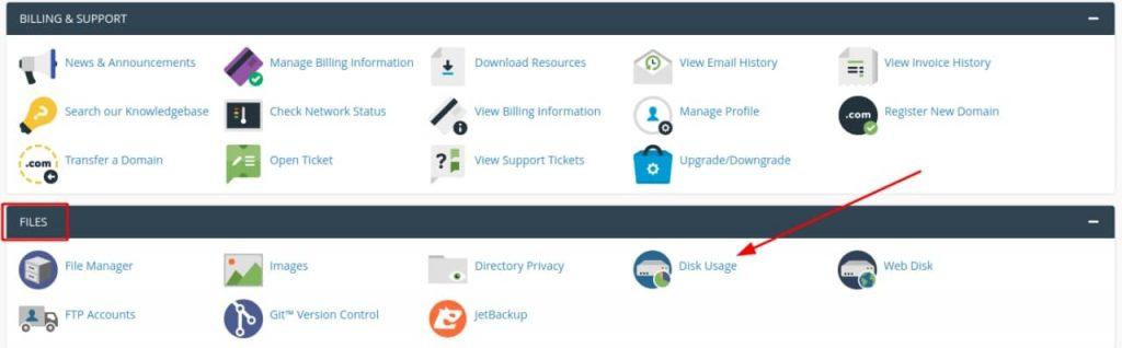 disk usage - kiểm tra dung lượng hosting trên cpanel