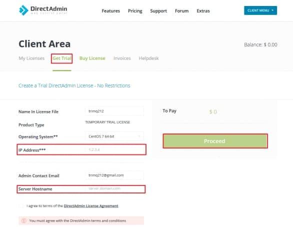 dùng thử tài khoản direct admin