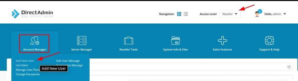 add new user trên directadmin