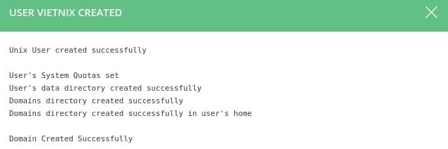 Thông báo tạo user DirectAdmin thành công