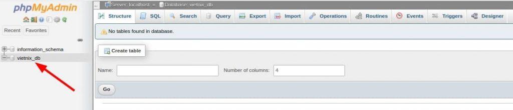 giao diện database được tạo trên phpmyadmin