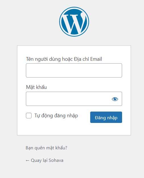 Trang login website WordPress
