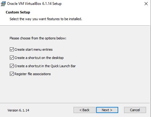 Thiết lập cài đặt VirtualBox
