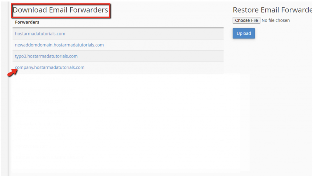 Email Forwarders Backup