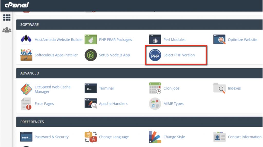 quản lý PHP version trong cPanel