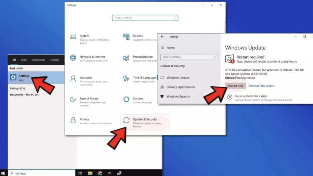 Cài đặt Windows Update để sửa lỗi 0xc00007b