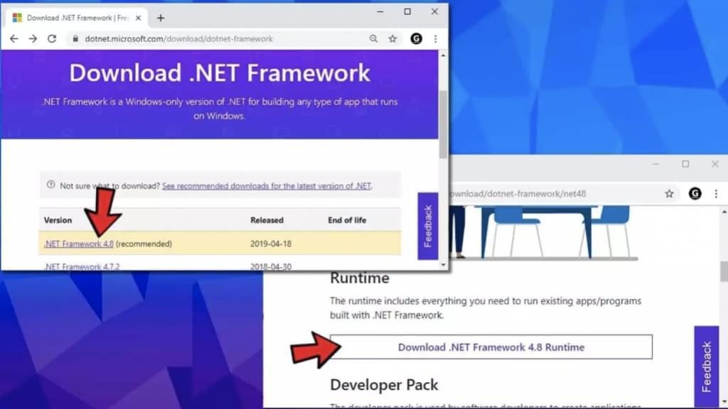 Cài đặt lại .NET Framework