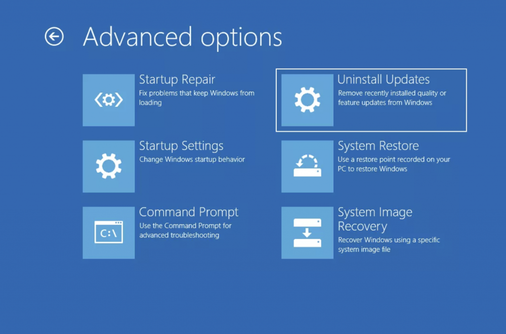advance options Windows