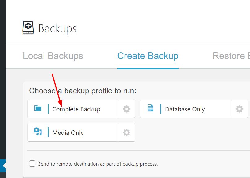 Nhấp vào Complete backup để tạo một bản backup.