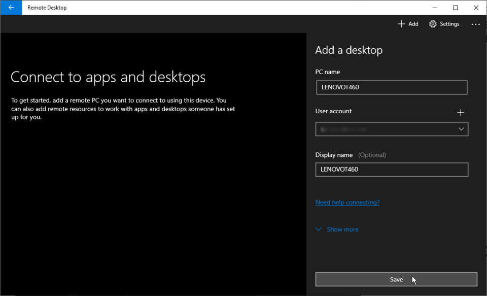 thêm tài khoản remote desktop