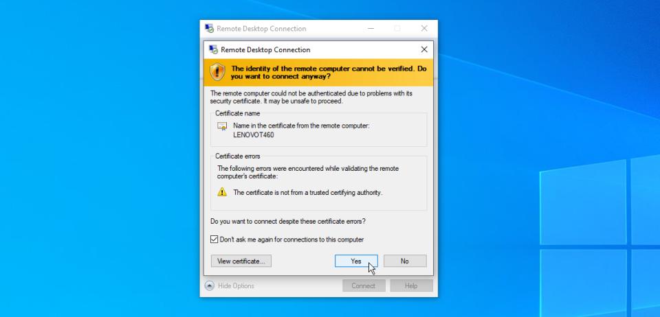 xác nhận tài khoản remote desktop