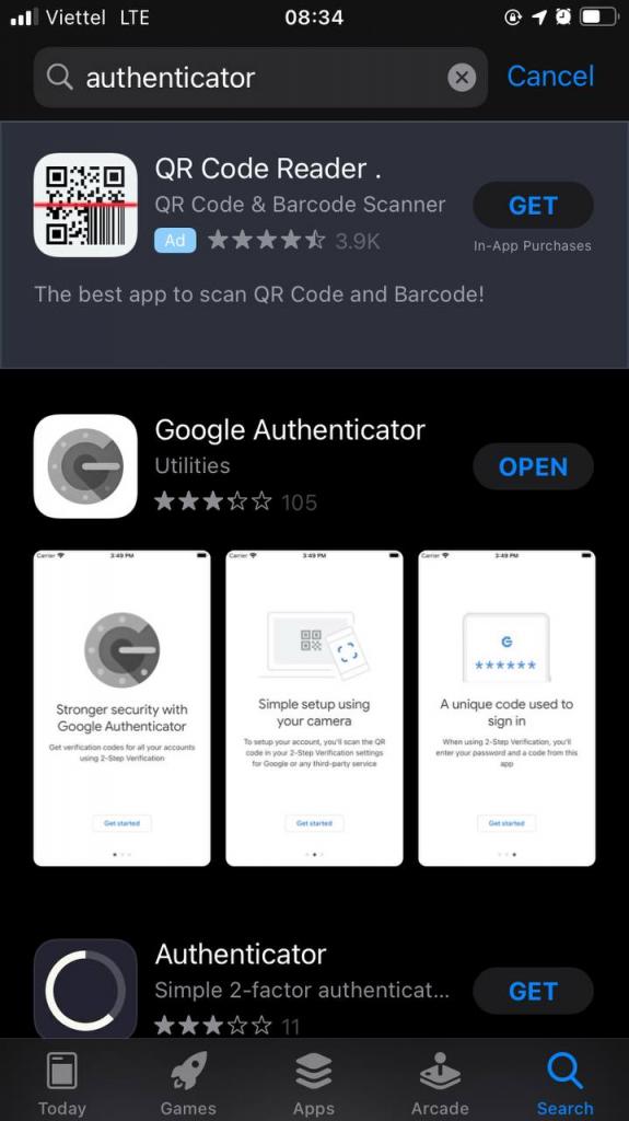Tải xuống ứng dụng Authenticator