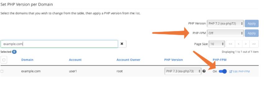 set PHP Version per Domain