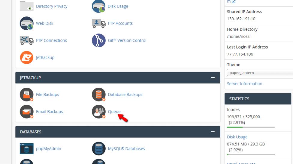 sử dụng jetbackup cpanel để khôi phục database
