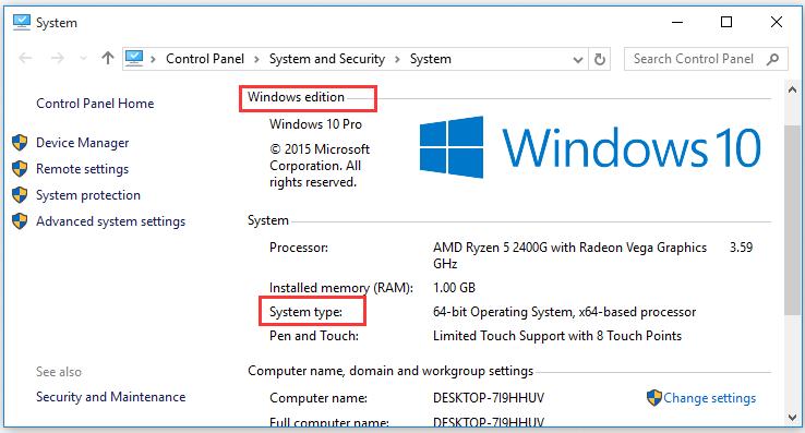 kiểm tra Windows edition