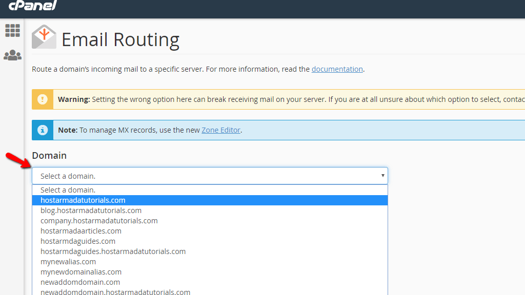 thay đổi Email Routing cho Domain