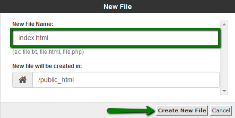 Cách tạo file trong File Manager cPanel: