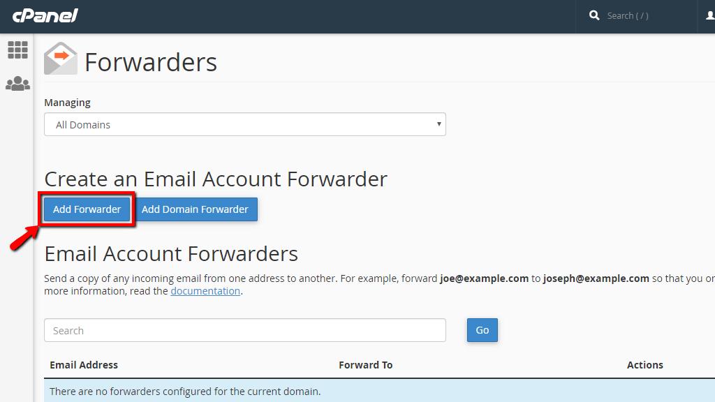 Hướng dẫn cấu hình Forwarders trong cPanel