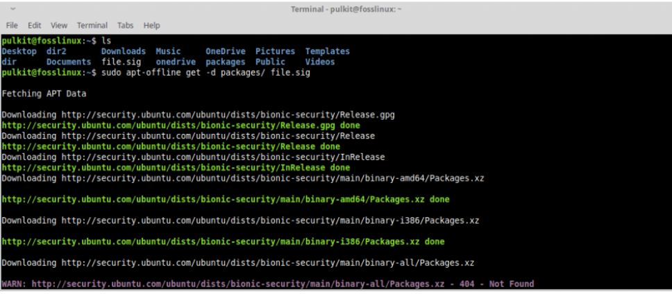 tải gói tin trong Ubuntu