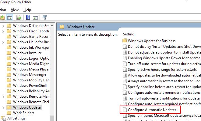 Chọn Configure Automatic Updates