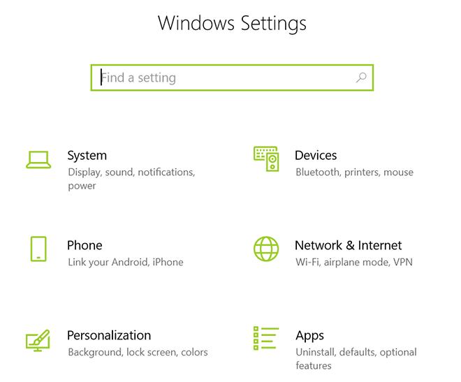 Mở Windows Setting