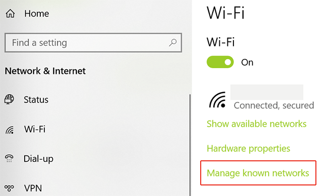 Chọn Manage known networks