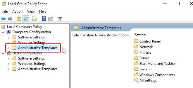 "Chọn ""Administrative Templates"""