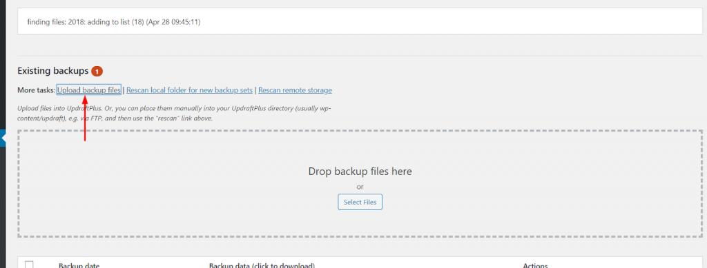 Khôi phục dữ liệu với UpdraftPlus