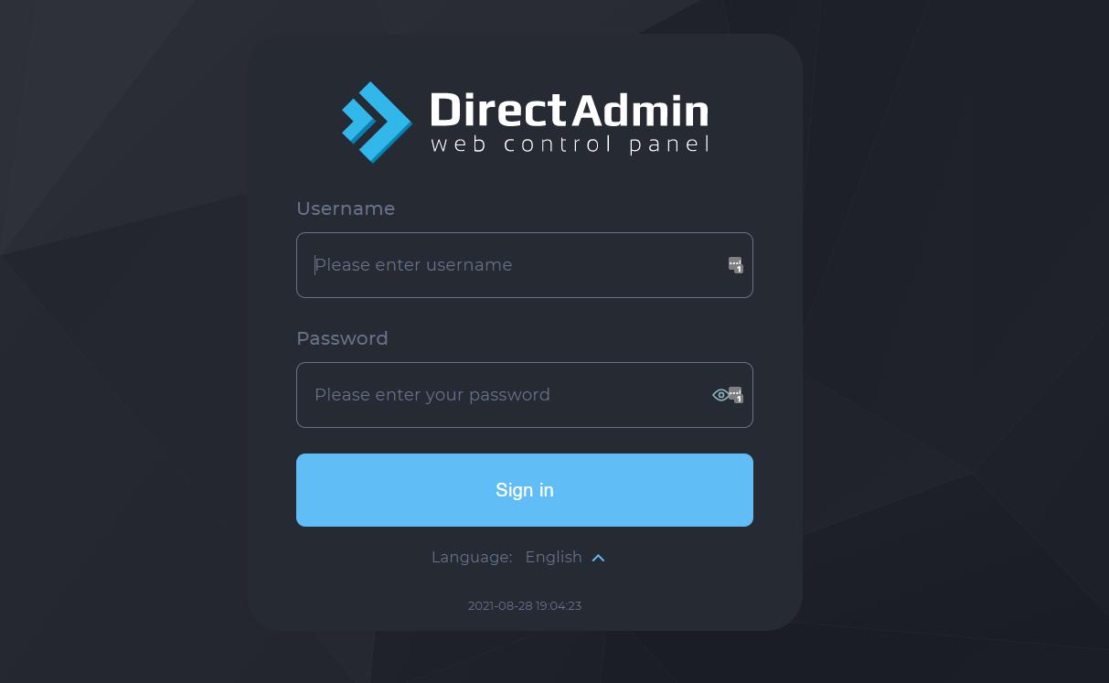 Đăng nhập vào Directadmin