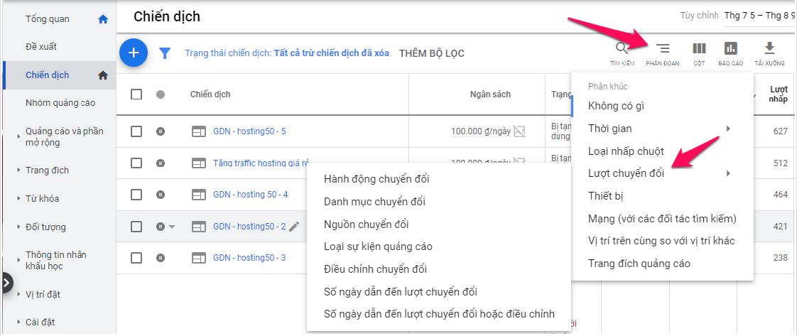 Báo cáo chuyển đổi Google Ads