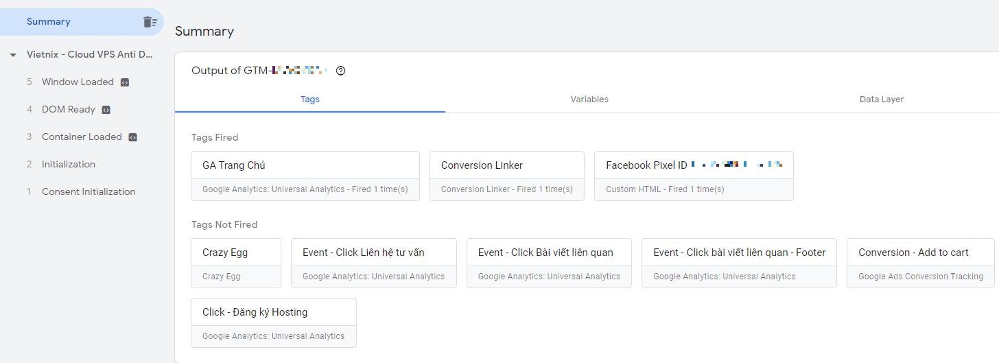 Báo cáo Google Tag Assistant