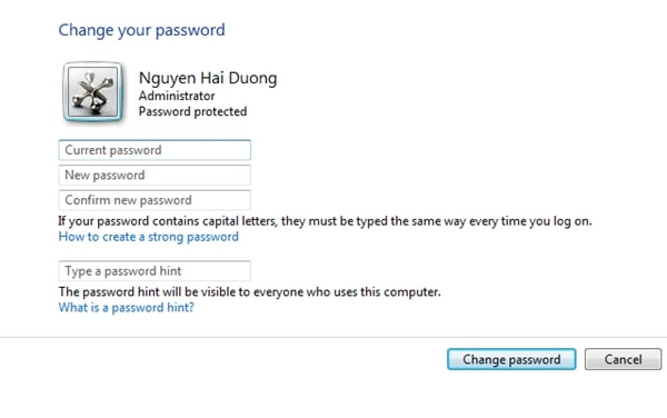 Cách cài đặt Password hint cho Windows 7