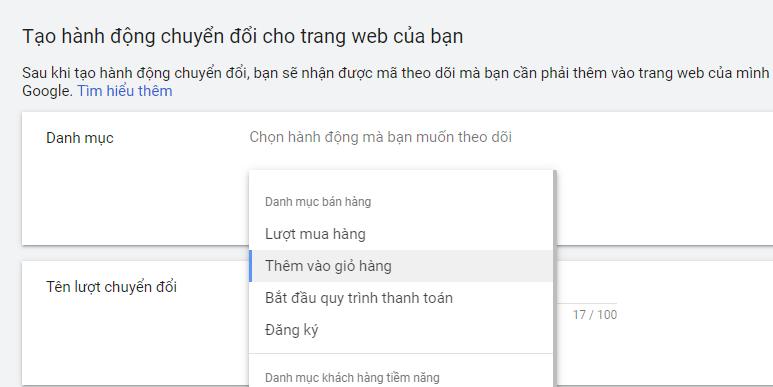 Danh mục chuyển đổi của Google Ads