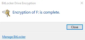 bitlocker hoàn tất mã hóa
