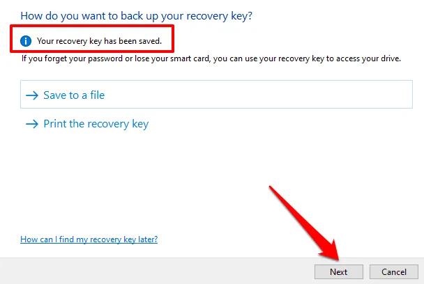 save BitLocker drive