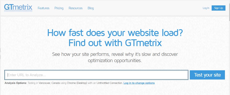 Công cụ kiểm tra tốc độ hosting GTmetrix