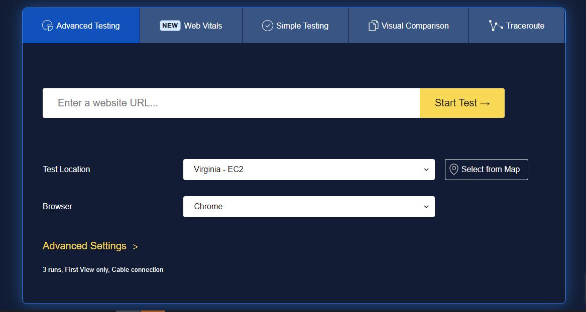 Công cụ kiểm tra tốc độ hosting WebPageTest