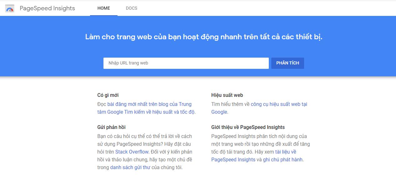 Công cụ kiểm tra tốc độ hosting Google PageSpeedInsight