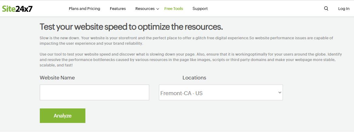 Công cụ kiểm tra tốc độ hosting Site24x7