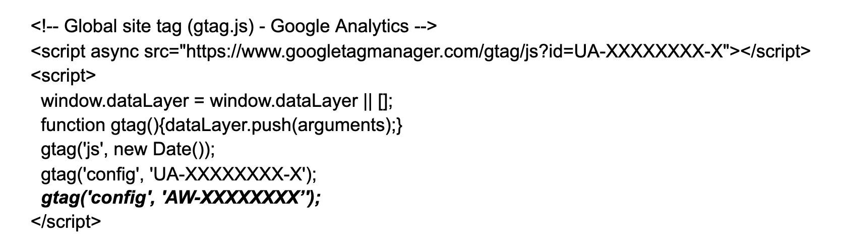 Mã Google Ads trong Google Analytics