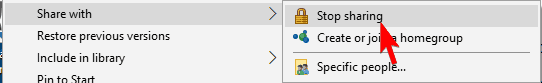 stop sharing folder