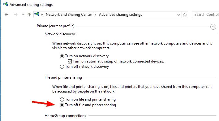 advanced sharing setttings